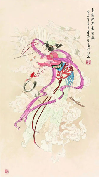 薛海涛创作的中国工笔画敦煌飞天系列